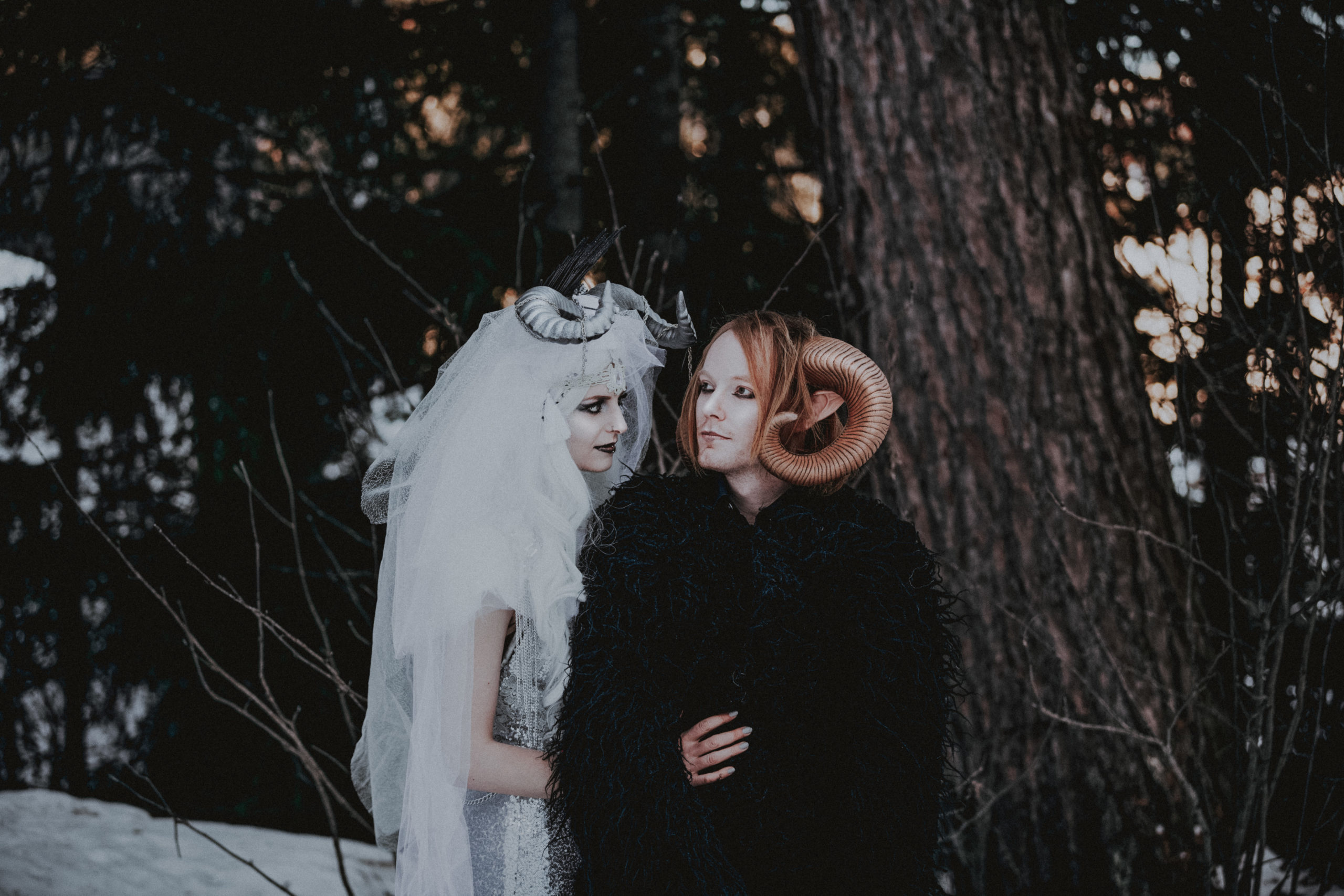 Gothic Themed Fantasy Wedding in Winter - Gothic Couple Marriage